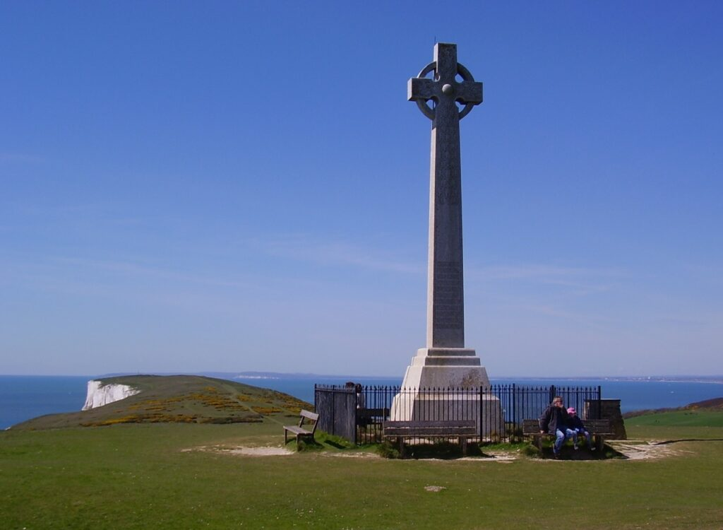Monument to Alfred Lord Tennyson on Tennyson Down, Isle of Wight